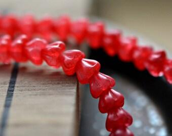 Raspberry Sorbet - Premium Czech Glass Beads, Coated Raspberry Sorbet, Baby Bell Flowers 4x6mm - Pc 50