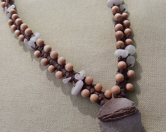 Jasper Arrowhead with Kunzite and Rosewood - Hemp Macrame Necklace - Natural Bohemian Hippie