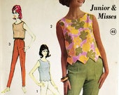 Vintage 1960s Skinny Pants & Cropped Blouse Pattern Advance 3162 Bust 34 Factory Folded High Waist Cigarette Pants Crop Top Rockabilly Set