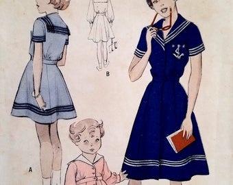 Vintage 1950s Girls Sailor Dress Pattern Butterick 5316 Size 4 Chest 23 Toddler Dress Pattern Middy Collar