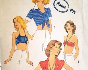 Vintage Halter Top or Bra Top Pattern Simplicity 7008 Bust 34 Factory Folded Crop Top Pattern