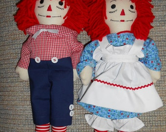 15 Inch Traditional Raggedy Ann & Andy Doll Sets
