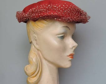 Vintage 1950s Red Straw Hat with White & Red Dotted Tulle