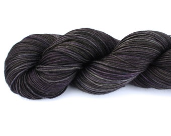 Black Magic--hand dyed sock yarn, merino and nylon, (463yds/100gm)
