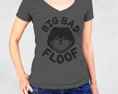 Ladies' V-Neck Tee RUNS SMALL See Size Chart - Big Bad Floof Shirt - Small Dog Black Pomeranian Dogmom Pets Animal Womens Graphic Tee Tshirt