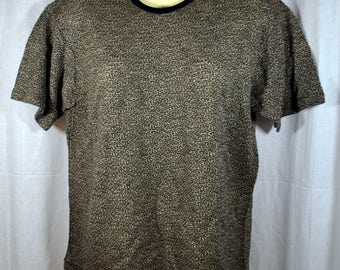 Vintage 1960s Kool Threads Tee Shirt Black White and Beige Knitted Poly Cotton Blend - Men's T Shirt Deadstock