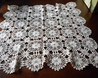 VINTAGE Tan Square Crochet Needlework Doily Table Topper 13T