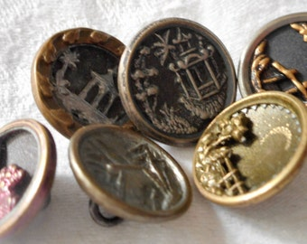Lot of 6 ANTIQUE Variety Small Metal Picture BUTTONS