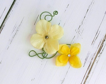 yellow hydrangea flower hair clip - twisted wire flower hair clip, fairy hair