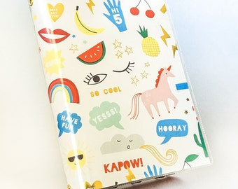 Paperback Book Cover - Reusable, Protective and Adjustable - Small Mass Market Size - Stylish Book Cover with Colorful Hip Unicorn Design