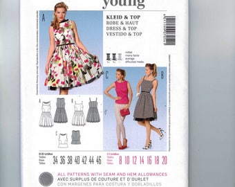 Misses Sewing Pattern Burda 7054 Misses Retro Rockabilly Dress with Petticoat or Top with Peplum  Size 8 10 12 14 16 18 20 UNCUT