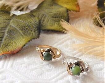 Sale.......Vintage Signed JP .925 Sterling Silver Jade Ring Size 6