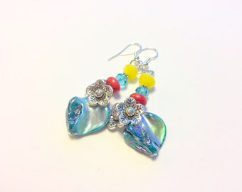 Turquoise Red Yellow Painted Shell and Flower Charm Earrings
