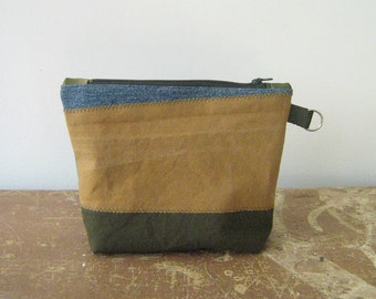 Salvaged Army Canvas and Denim Zip Pouch, Makeup Bag, Clutch, Pencil Case, fully lined, handmade in Maine, USA