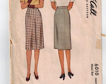 Vintage 40's McCall 6010 Misses' Skirt Printed Sewing Pattern Waist Size 24 Hip 33 Front Pleat Outside Darts Waistband w/Hook and Eye