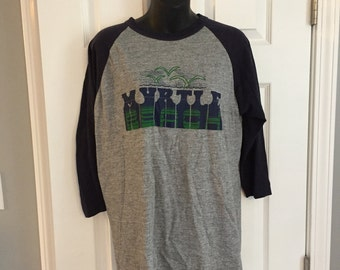Vintage 1980s Myrtle Beach baseball tee tri blend t-shirt raglan