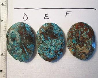 Jasper Bead, 56mm-59mm, Faceted Slab Oval, Turquoise Brown, Ocean Jasper, Focal Bead - gm423-AF
