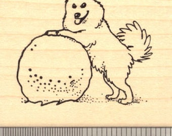 American Eskimo Dog Rubber Stamp H14009 Wood Mounted