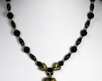Black & Gold Murano Heart Necklace