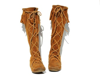 Rust Brown Suede Leather Tall Lace Knee High Moccasin Boots / size 8