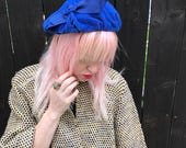 Velvet Beret // Bright Blue // 1940s Hat // 40s Fashion // Pastel Goth // Glam // Vintage Accessories // Union Made // Bohemian Boho Chic
