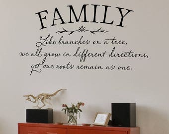 Family Wall Decal - Family Like Branches on a tree we all grow in different directions - Family Quote - Family Wall Decor