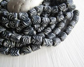 Black and white glass beads, tube lampwork beads, opaque swirl designs,  boho ethnic style Indonesia 9-10 x 11-12mm ( 8 beads ) 6bb4-1
