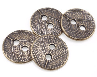 Antique Brass Button Findings Bronze Buttons TierraCast LEAF BUTTON Clasp Findings Leather Bracelet Clasp Autumn Fall Woodland (PF523)