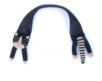Cat necklace, black and white - cat jewelry, cute animal necklace, head and tail necklace, cat choker, unusual animal jewelry