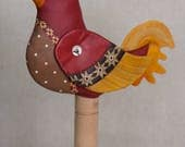 One of a Kind Hand Painted Red and Yellow Quilt Inspired Folk Art Chicken Soft Sculpture or Doll, Artist Signed Appalachian Collectible