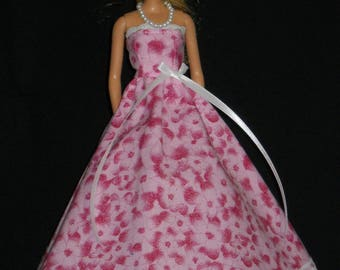 Barbie Doll Dress Handmade Gown Pink Floral and Lace with Necklace