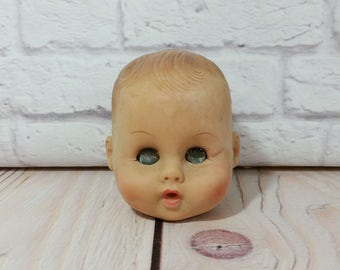 Vintage Rubber Doll Head Sleepy Eyes Great Creepy Decor