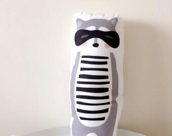 Baby Raccoon cushion, Stuffed animal, Plush Toy, Throw pillow, Decorative pillow, bedroom decoration, baby animal, woodland animal