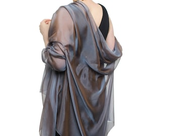 Steel Blue Evening  Silk Chiffon Stole/ Wrap/ Shawl with semi-sleeves