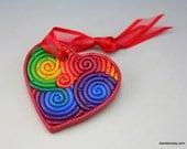 Mini Heart Ornament in Rainbow Polymer Clay Filigree