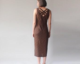 tribal print wiggle dress | cage back 90s midi dress | small