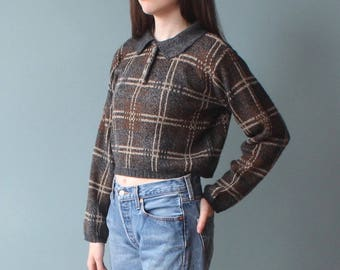 cropped plaid sweater | 80s long sleeved cop knit top | small - medium