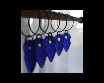 Stitch Markers: Translucent Cobalt Blue Pressed Glass Stitch Markers