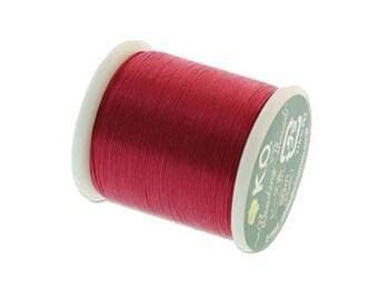 K.O. Beading Thread, Scarlet Pink Japanese Beading Thread 43343 55 yd, KO Beading Thread, Size B Beading Thread Pre-Waxed Thread
