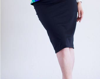Black Tango Skirt with Cascading Ruffle Front to Back