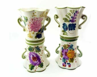 4 Vintage Fluted Ceramic Cottage Flower Vases 1970s w/Scroll Handles Portugal & Italy Hand Painted by FTD Floral Supply Lavender Yellow Blue