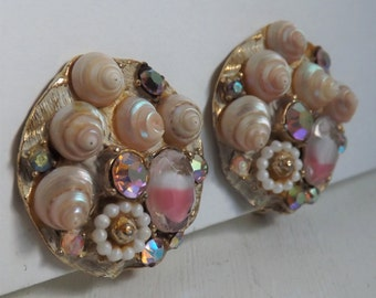 Vintage Art Co earrings gold tone with white enamel wash lucite pearly sea shells, rhinestones, pink white givre stones accents