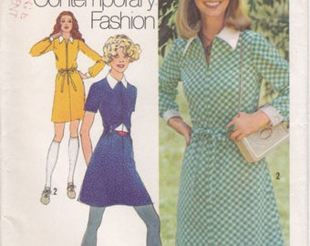 Vintage Pattern Simplicity 9810 Misses' Mini Dress  70s Size 10 B32-1/2