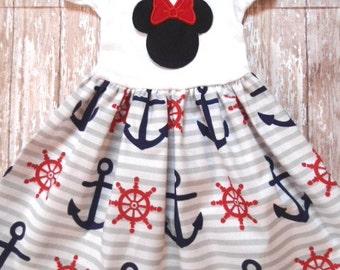 MINNIE MOUSE, disney dress, birthday minnie party dress, anchor nautical cruise, girls minnie dress, 1st birthday party, minnie party dress