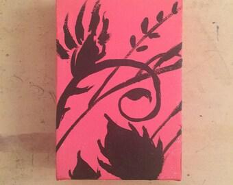 Black Reeds Pink Sky Painting