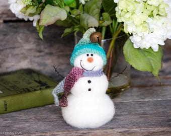 Needle Felt Snowman - Needle Felted Snowman - Christmas Snowman - Christmas Decoration - Christmas Decor -  Wool Snowman - Winter Décor -846