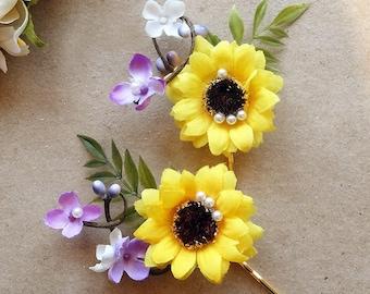 sunflower hair pins, bridesmaid hair accessories, sunflower hair clip, yellow wedding, floral hair pins, purple hair clips, hair flowers