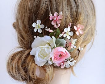 bridal hair flower, pink hair flower, wedding headpiece, bridal headpiece, hair flower wedding, bridal hair piece, rose hair clip,