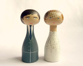 Unique wedding cake topper Personalized wooden peg doll art hand painted custom bride groom cage veil