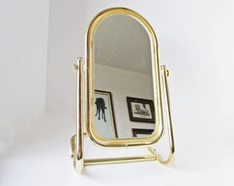 Swivel Vanity Mirror Standing Gold Framed, Dressing Table Top Arched Oval Mirror Tall Cosmetic Metal Makeup Shaving Mirror Vanity Home Decor
